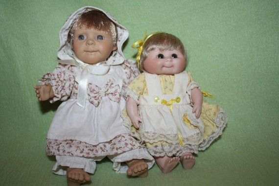Two Porcelain Baby Dolls One 7 Inches and One 9 Inches