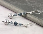 Grey Pearl Earrings Blue Sapphire Crystal Bridal Sterling Silver Wedding Jewelry Mothers Day Jewelry