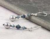 Gray Pearl Earrings, Winter Wedding, Mother of the Bride, Steel Blue Jewelry, Dark Blue