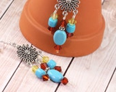Turquoise Earrings Southwest Jewelry Indian Red Crystal Topaz Sterling Ear Wires Mothers Day Jewelry