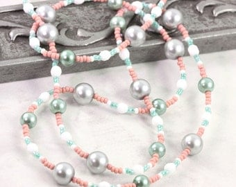 Pink Eyeglass Holder Green Eyeglass Leash Office Fashion Beaded Lanyard Coral Eyeglass Chain White Gray Pearl Lanyard Mint Sunglass Holder