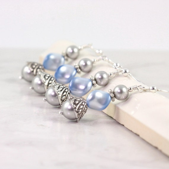 infant pearl earrings baby blue pearl earrings bridesmaid earrings something blue 2244