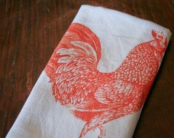 Orange Rooster Love Kitchen Towel
