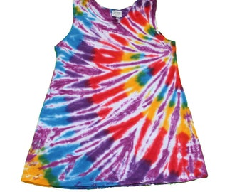 Girls Tie Dye Tunic in Magenta with a Rainbow Swirl