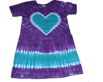 Girls Tie Dye Dress in Purple with an Aqua Heart Short Sleeve TIe Dye Dress