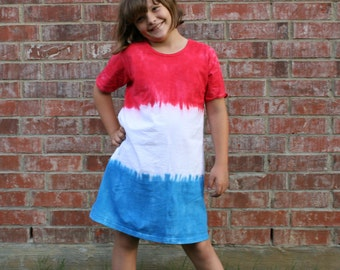 Girls Dress in Red, White and Blue Tie Dye-Girls 4th of July Dress-Fourth of July Dress