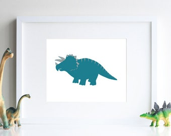 Triceratops dinosaur decoration, boy room decor 8 x 10 modern art print - different colors and sizes available