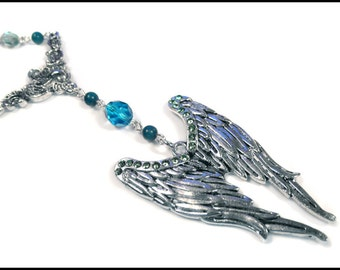 Blue Turquoise Angel Wings Necklace Gothic Silver
