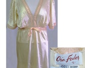 40s silk and lace night gown by Ora Feder in champagne size large