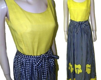 70s Maxi sun dress yellow black linen size B36 modern 8 bumblebee