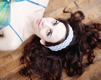New Embroidered  and Sequin Headbands Available Blue Lavender and Green Yellow