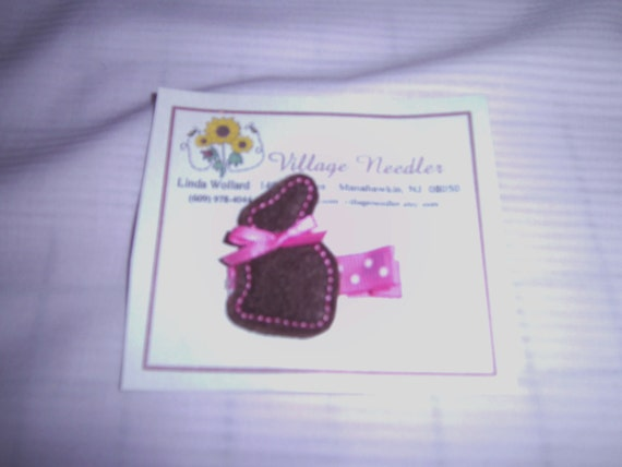 Girls Easter Bunny Felt Embroidered Hair Clip, Brown w/Pink Bow, Brownw/Yellow bow, Infant,Toddler