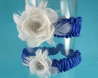 Blue, Ivory, Organza Feather Rose Wedding Garter Set  L281 - bridal garter accessory