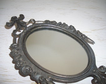 ornate italian mirror - shabby garden chic metal roses - hollywood regency made in italy