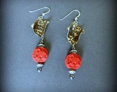 Bronze & Red Cinnabar Elephant Earrings