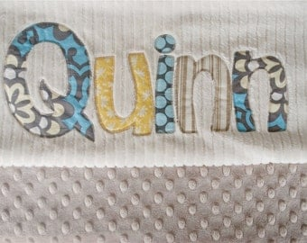 Monogrammed Baby Blanket in MOROCCAN, Latte Dot Minky and Cream Chenille, Personalized with Your Baby Boy's First Name in Fabric Scraps