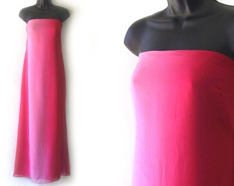 SALE! 90s Pink and Red Kay Unger Strapless Maxi Dress S M