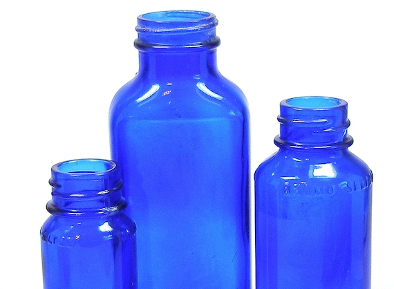 3 Cobalt glass Apothecary bottles, Blue pharmacy medicine pre-1970's, Instant Collection.