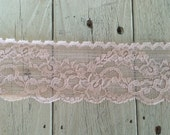 NEW-Wide Stretch Lace BLUSH PINK  -2 3/4 inch -2 yards for 3.49
