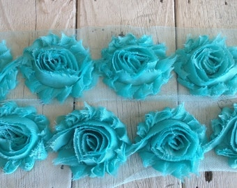 Shabby Chic TURQUOISE Rose Trim on Net-2 1/2 inch- 1/2  yard