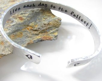 Customizable Cuff Bracelet, Hand Stamped Mantra Bracelet... Aluminum (For Your Eyes Only - Design)