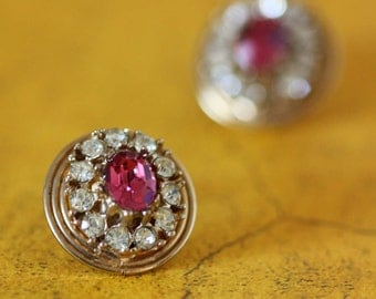 Gold and Pink Rhinestone Earrings - Vintage Costume Jewelry