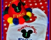 Mickey Hat and Bib, You Choose Colors, by Gingham Bunny