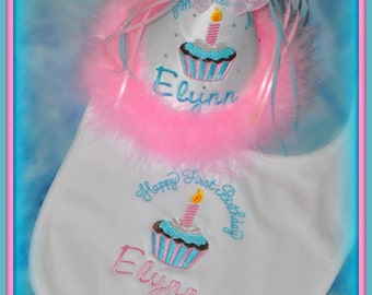 2 Piece Set, Aqua and Pink, First Birthday Hat and Bib Set, You Choose Colors, Princess, ,First Birthday Bib,    by GINGHAM BUNNY