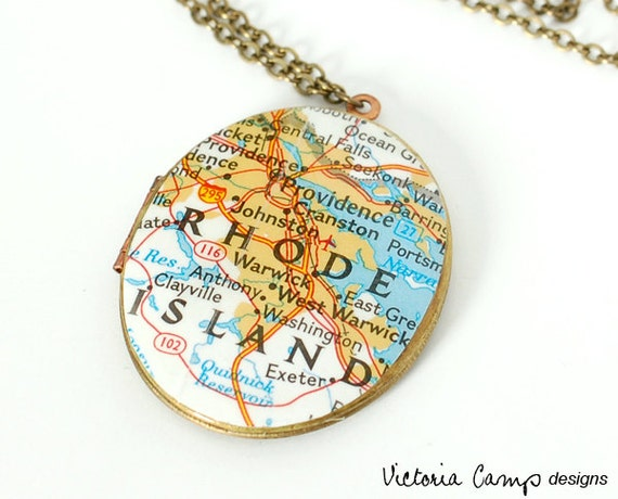 Map Necklace - Providence RI - Vintage Oval Locket, Large Locket, Rhode Island, Brass - Ready to Ship