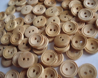FOUND IN SPAIN -- petite wood buttons - set of 100