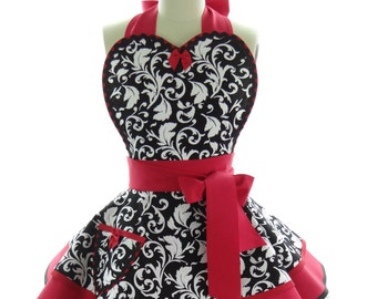 Retro Apron - Red Parisian Womens Aprons - Vintage Apron Style - Damask Pin up Cosplay Costume