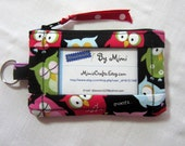Women Wallet, ID Wallet, Student ID Badge Holder, ID Coin Purse, Handmade From Sleepy Owls