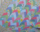 Infant Quilt- Colorful Friendship Braid Design in Blues, Greens, Yellows