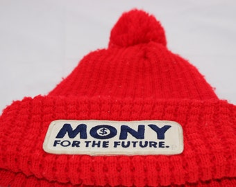 Vintage Mony For the Future Stocking Hat Trucker Steampunk Hat Urban Stocking Cap Embroidered Patch on Knit Stocking Cap