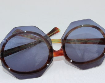 Vintage Octagonal Horn Rimmed Sunglasses Jackie O Sunglasses 1960's Tortoise Shell Groovy Oversized Shades Womens Funky