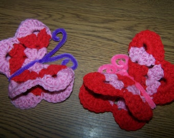 Crocheted Refrigerator Butterfly Magnets - Very Pretty - Unique - Gift