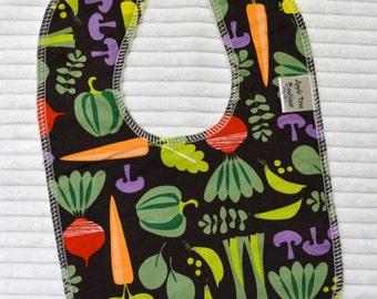 Veggie Garden Drooler Bib - Absorbent Organic Cotton Middle No Wick Through