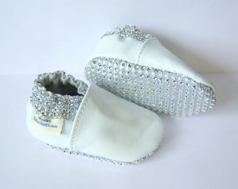 leather Bling shoes, baby girl baptism shoes,bling baby shoes,leather and bling shoes,
