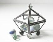Vintage Small Glass Box - 5 Sided  - Marble Feet - Unusual - BeeJayKay