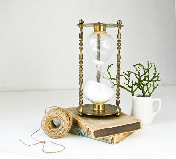 Vintage Brass Hourglass - Etched  Astrological Zodiac