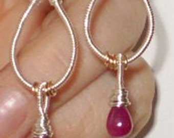 Tear Drop- Hand Wrought Ruby Earrings