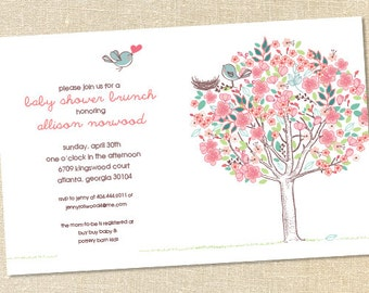 Sweet Wishes Love Birds Rustic Baby Shower Invitations - PRINTED - Digital File Also Available