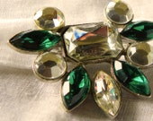 Rhinestone Emerald Silver Tone Pin Brooch Vintage Shipping Included