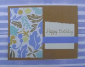 Handmade Card - Blue and Brown Stamped Birthday Card Blue and Brown Leaves