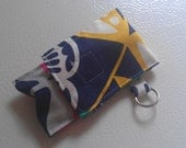 Navy Blue Yellow Pink Red Flower Print Fabric Chapstick Case Cozy USB Keychain