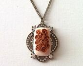 Flower necklace antique style - sparkle victorian roses
