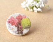 Pink floral brooch - romantic shabby chic pin