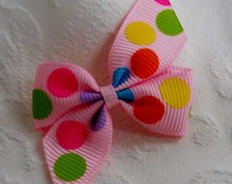 "5/8"" Dog Bow- Multi Dot Mini Pin Wheel Dog Bow"