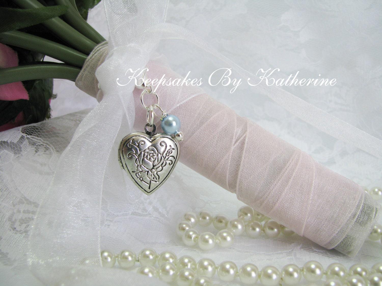 Bridal Bouquet Locket Charm : Rose heart locket bridal bouquet charm by keepsakesbykatherine