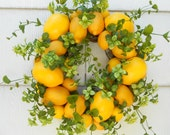 Little Lemon Wreath With Boxwood....Kitchen Decor...Year Round Wreath